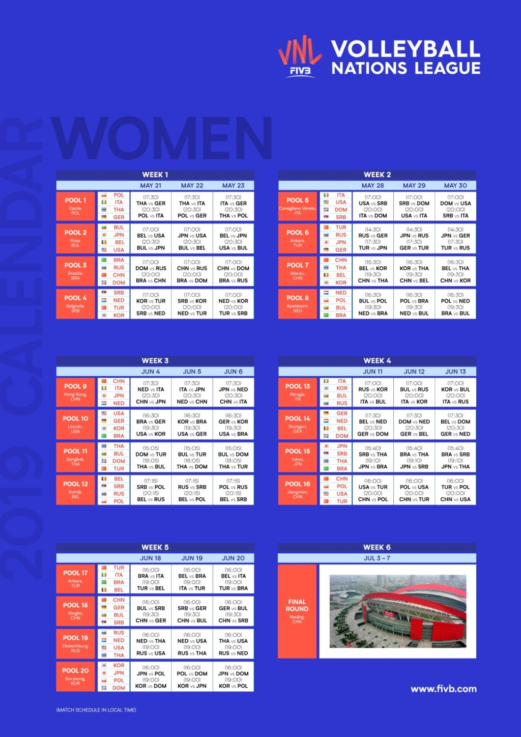 Calendario Vnl Maschile 2020.Fipav Umbria Volleyball Nations League Femminile Perugia